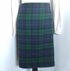 J Crew Wool Plaid Pencil Skirt